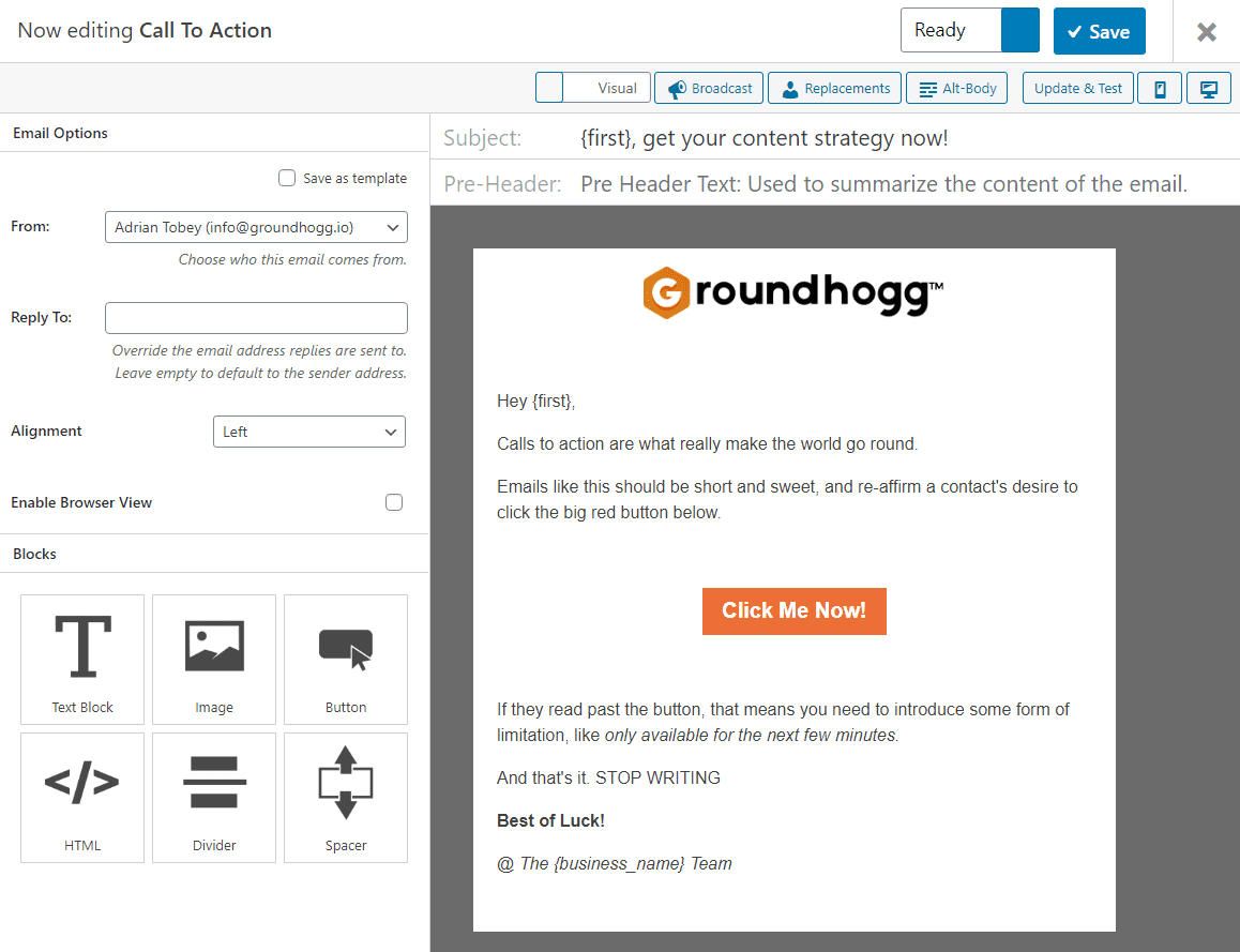Groundhogg e-mail CRM marketing automatisatie e-mail builder
